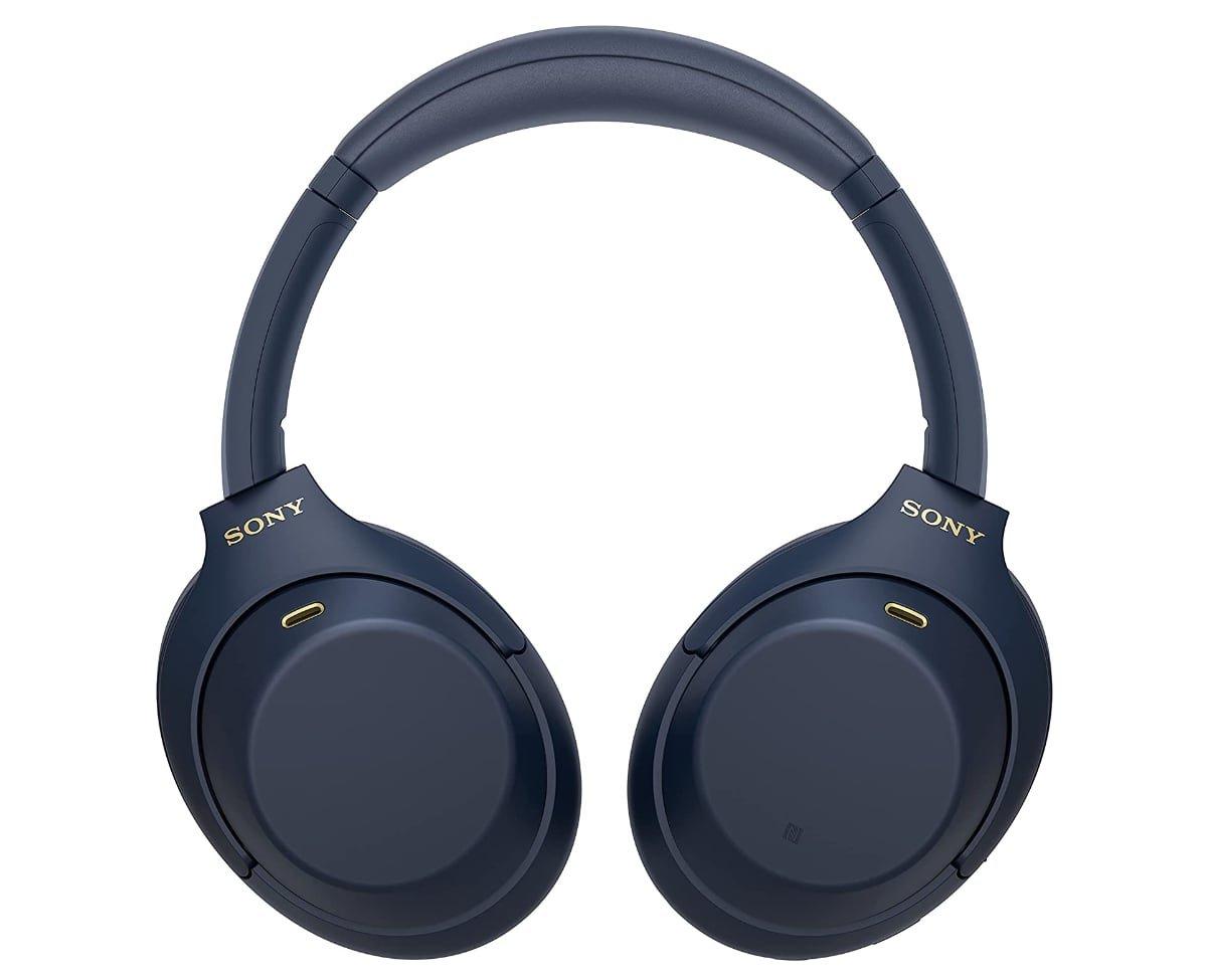 auriculares Sony WH1000XM4 en color azul frontal